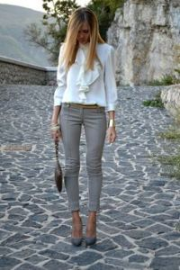grey white outfit